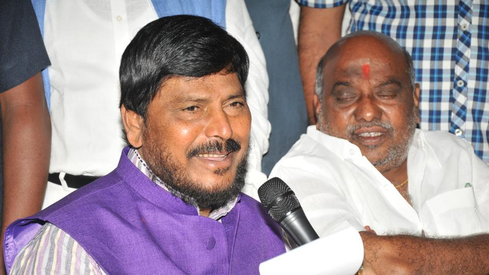 Union minister of state for social justice and empowerment Ramdas Athawale at the Telangana secretariat on Thursday.