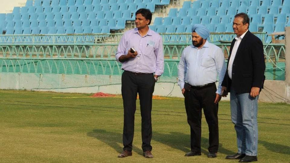 Javagal Srinath and BCCI officials inspecting Lucknow stadium in Wednesday.