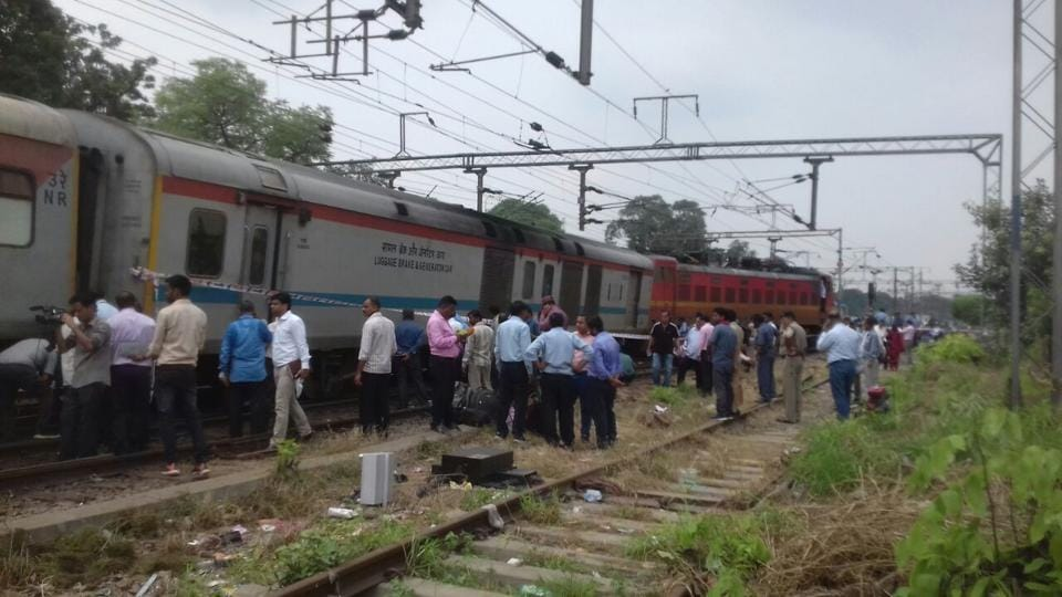 Ranchi-Delhi Rajdhani Express at Shivaji Bridge in New Delhi after its engine and a coach derailed.