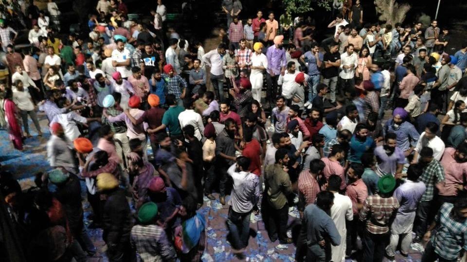 Celebrations at Panjab University after NSUI's victory on Thursday.