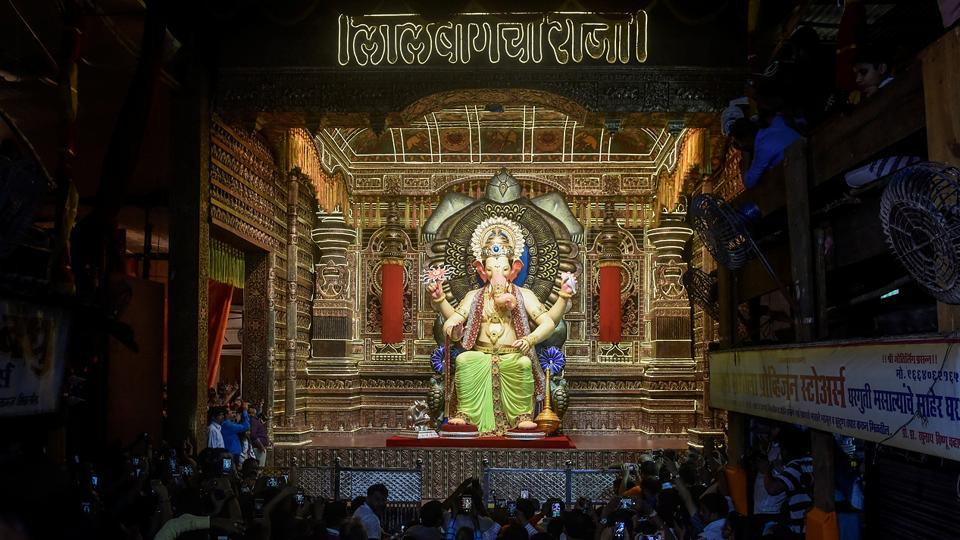 MONEY MATTERS: The counting of donation at Lalbaugcha Raja in Parel started on Thursday. (Kunal Patil/HT Photo)