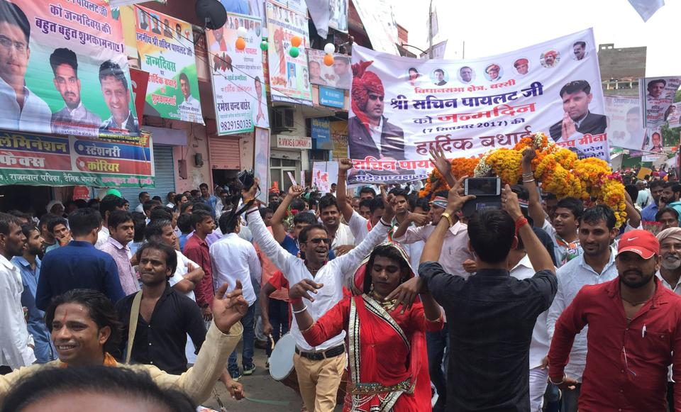 A procession by party workers to celebrate Rajasthan Congress chief Sachin Pilot's birthday in Jaipur on Thursday.