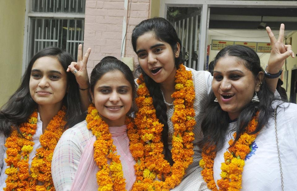 ( From left) Newly elected secretary Shalu Chokker , vice-presidentNavdeep Kaur , president Anjum Arraha and joint secretary Monika Dagar from Guru Gobind Singh College for Women in Sector 26. (Karun Sharma/HT)