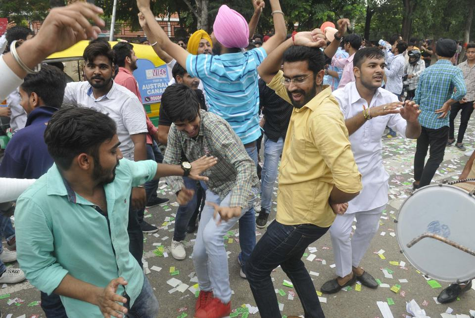 CSF/SOPU supporters celebrating outside Shri Guru Gobind Singh College, Sector 26 on September 7. (Karun Sharma/HT)