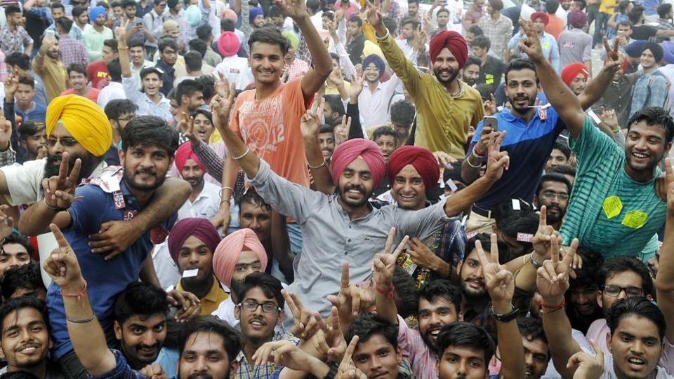 Sukhvir Singh and CSF/SOPU celebrating outside Shri Guru Gobind Singh College in Sector 26 on September 7 after being elected as the president.  (Karun Sharma/HT)