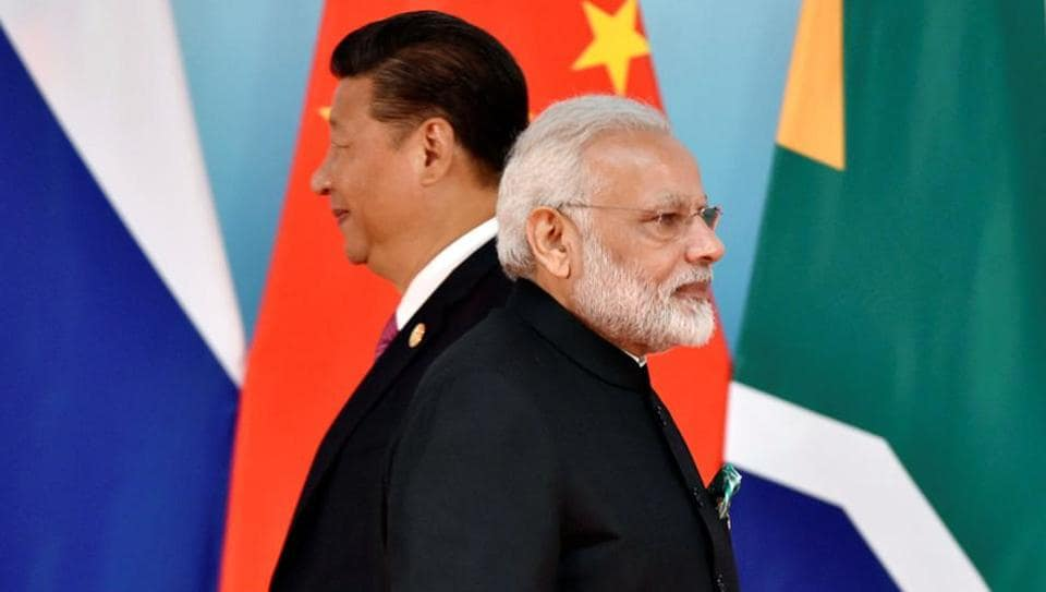 Chinese president Xi Jinping (left) and Prime Minister Narendra Modi at the group photo session during the BRICS Summit at the Xiamen International Conference and Exhibition Center in Xiamen, China, on September 4, 2017.