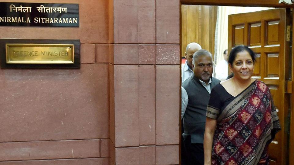 Defence minister Nirmala Sitharaman comes out of her office after taking charge at South Block in New Delhi on Thursday.