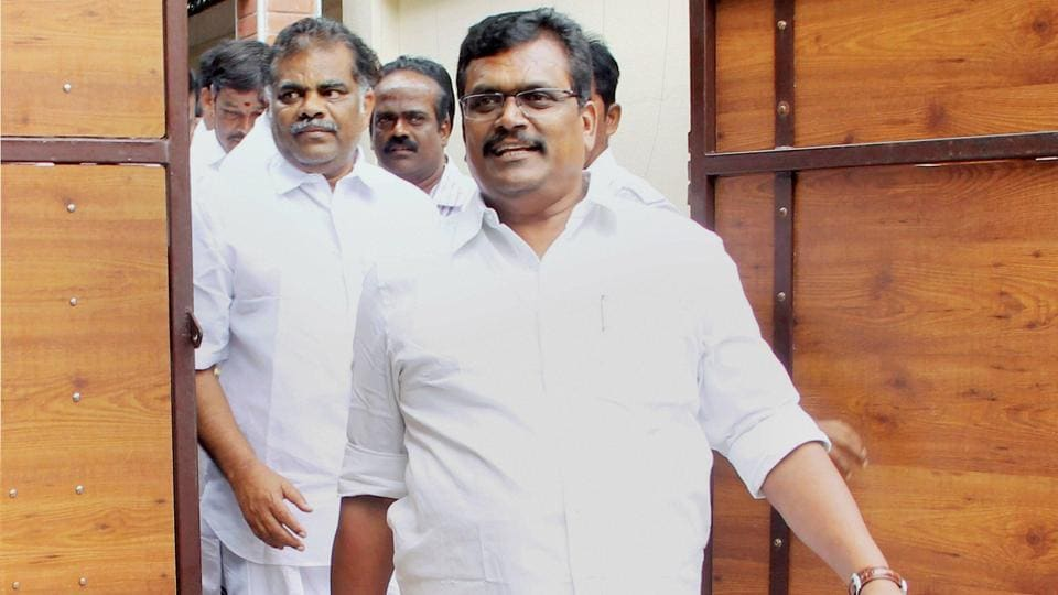TTV Dinakaran leaving for Puducherry after calling on Tamil Nadu governor CH Vidyasagar Rao in Chennai on July 22.