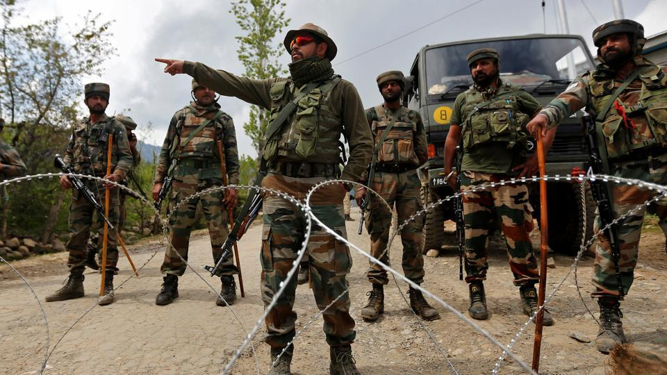 File photo of Indian Army soldiers standing guard at their base after it was attacked by militants in Kashmir's Kupwara.
