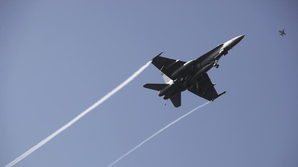 An F-18 fighter jet.