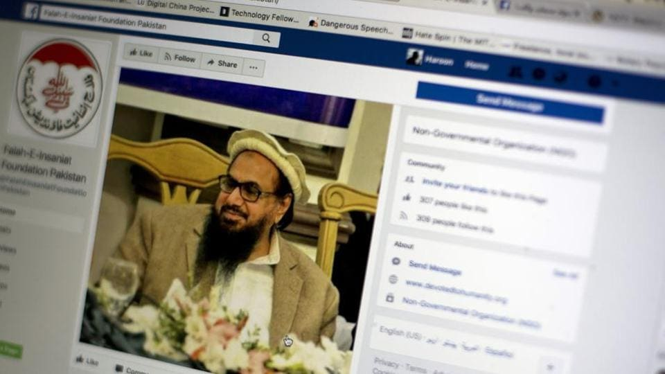 A Facebook site features Hafiz Saeed, the founder of Lashkar-e-Taiba, a banned organization and a US declared terrorist group, in Islamabad, Pakistan.