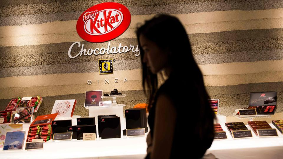 The company also plays on the superstitious nature of the Japanese public. 'KitKat has become a sort of good-luck charm to which the Japanese have become emotionally attached,' said Lacroix. The name reminds people of the Japanese phrase 'kitto katsu', meaning 'sure to win'. It has therefore become common to hand them to friends before an exam or an important event. (Behrouz Mehri / AFP)