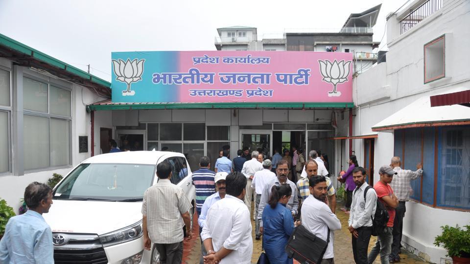 The ruling BJP's headquarters in Dehradun.