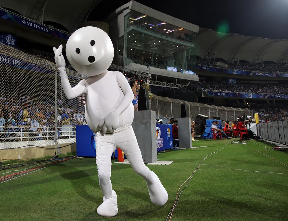 A zoozoo, one of those beloved advertising creations, seen in action during the IPLT20 semi finals at the Dr DY Patil Cricket Stadium in Mumbai on April 21, 2010.
