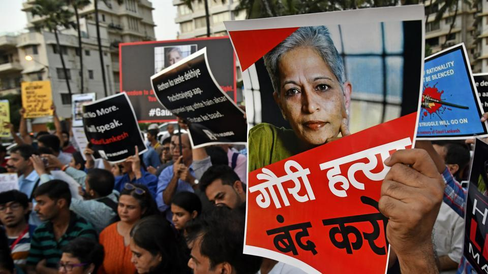 Journalists hold protest against Gauri Lankesh's murder in Mumbai on Wednesday.