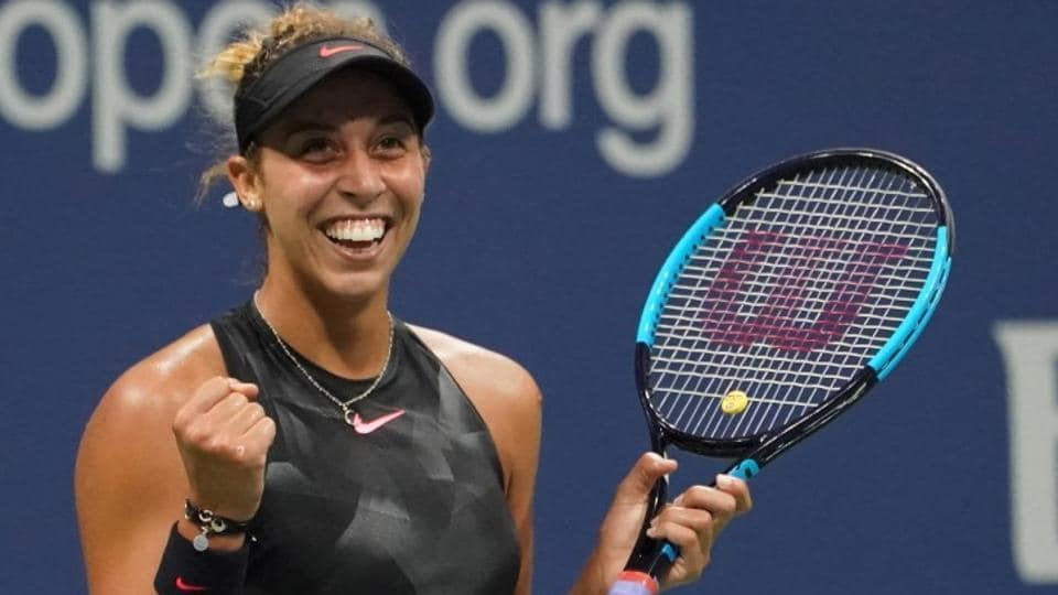 Madison Keys of the United States celebrates after match point against Kaia Kanepi of Estonia. (USA today sports)