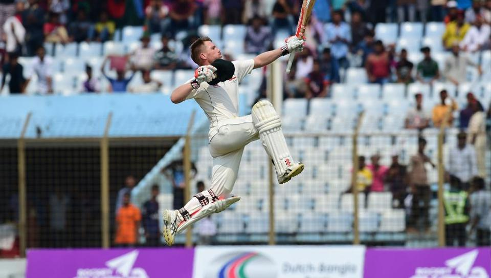 Australian cricketer David Warner reacts after scoring a century on day 3 of the second cricket Test versus Bangladesh in Chittagong on Wednesday.