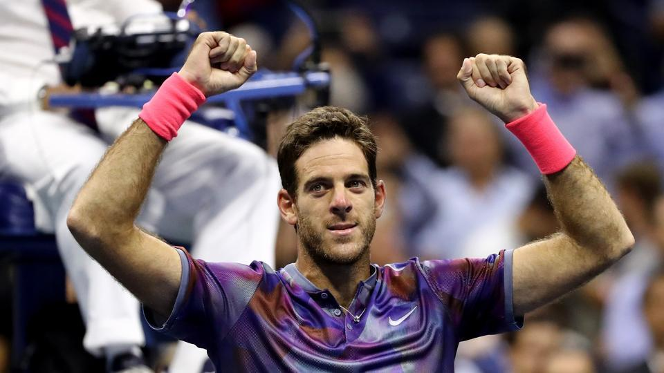 Juan Martin del Potro of Argentina celebrates after defeating Roger Federer of Switzerland in the US Open semifinal. (AFP)
