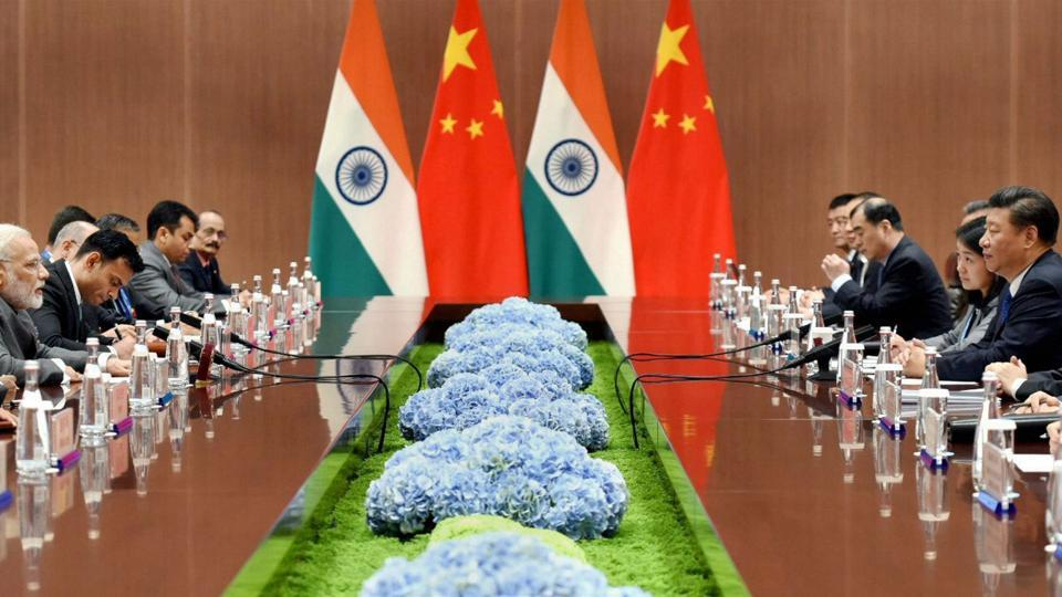 Prime Minister Narendra Modi in a bilateral meeting with the President of the People's Republic of China, Xi Jinping, on the sidelines of the 9th BRICS Summit in Xiamen, China, September 5