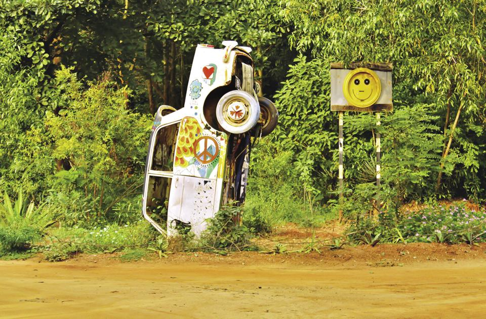 Vibrant art installations are a delight for volunteering visitors at Auroville