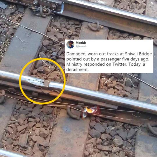 The photograph showing the damaged portion of the railway track tweeted by the user