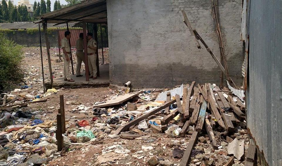 Debris at the site where the school had built toilets illegally.