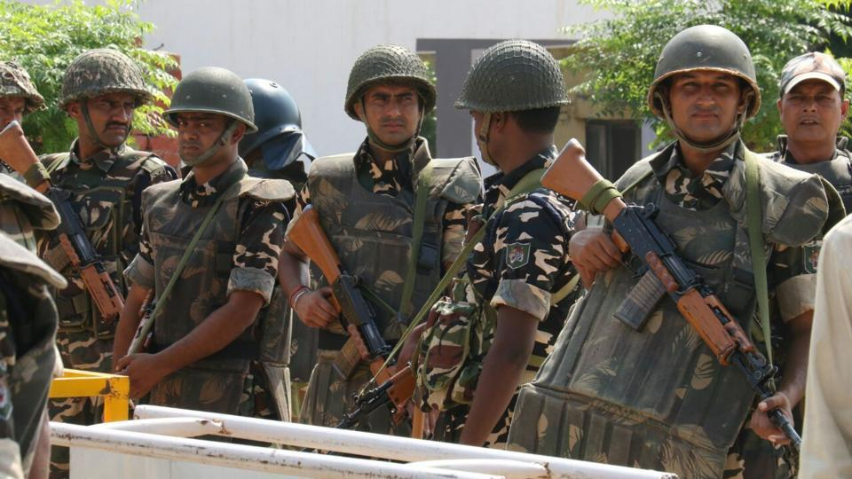 Over 40 companies of paramilitary forces, four columns of the army, Haryana Police, a SWAT team and a dog squad have been deployed.