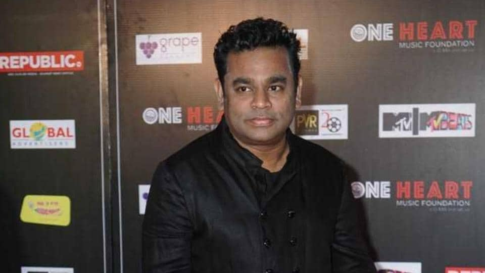 AR Rahman during the premiere of One Heart - A Concert Film in Mumbai .