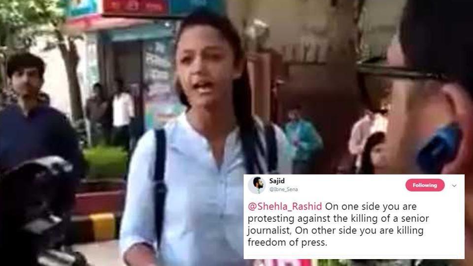 "Don't want Republic TV here"": JNU's Shehla Rashid berates journalist"