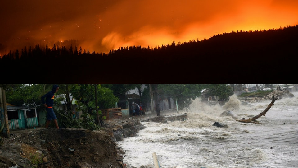 Combination image of wildfire in Montana and Hurricane Irma in Puerto Plata.
