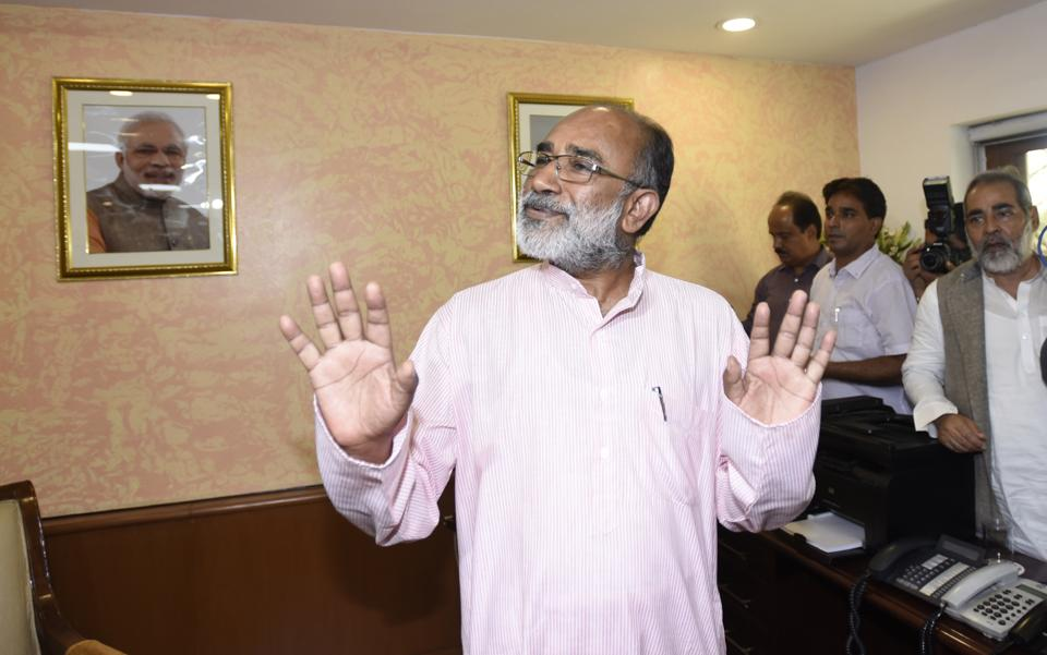 Newly appointed Union minister Alphons Kannanthanam made the remark in response to a question about the beef ban affecting tourism that, 'They can eat beef in their country and come to India.' (Sonu Mehta/HT PHOTO)
