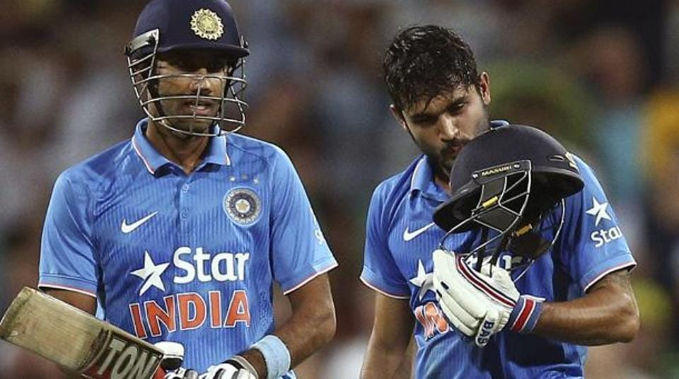 Gurkeerat Singh Mann (left) and  Manish Pandey during a ODI against Australia in Sydney on January 23, 2016. Gurkeerat Singh will lead Board President's XIin a warm-up match against Australia later this month.