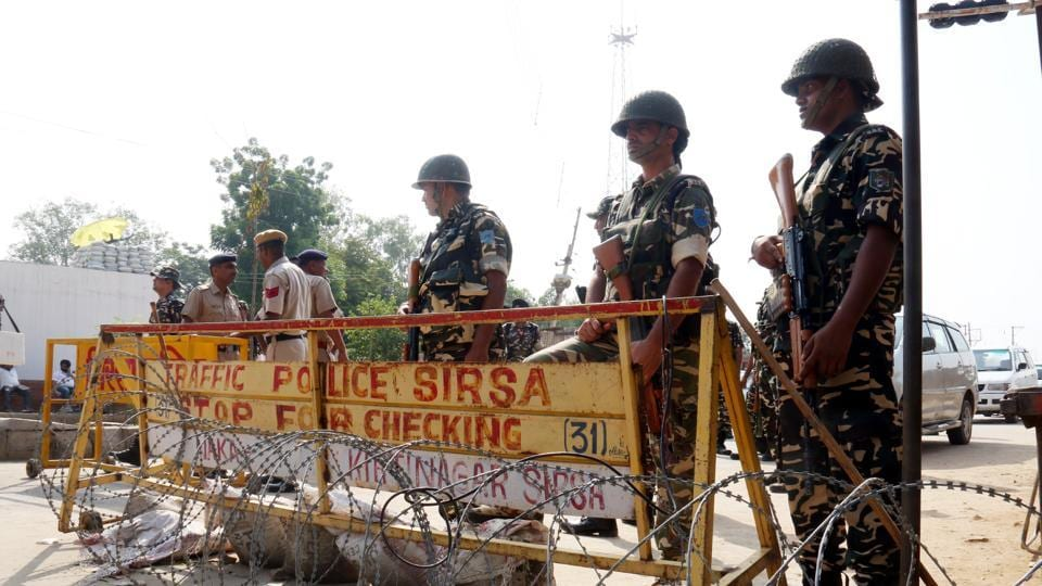 Police and Paramilitary Personnel Barricades during Dera Sacha Soda search operation in Shah Satnam Singh Chownk in Sirsa Haryana on Friday, September 08, 2017.
