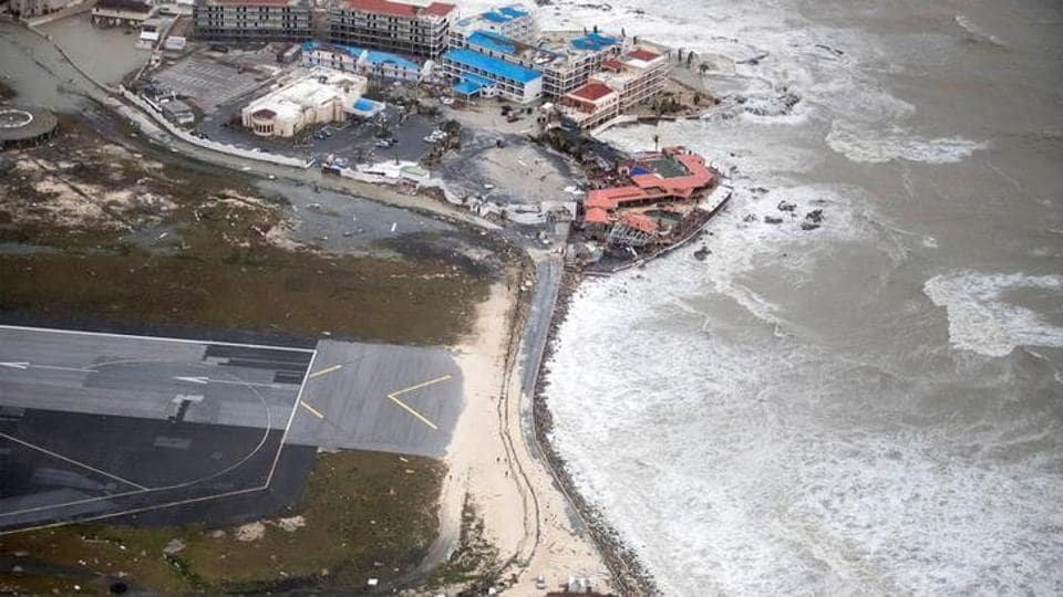 View of the aftermath of Hurricane Irma on Sint Maarten, the Dutch part of Saint Martin island, in the Caribbean.