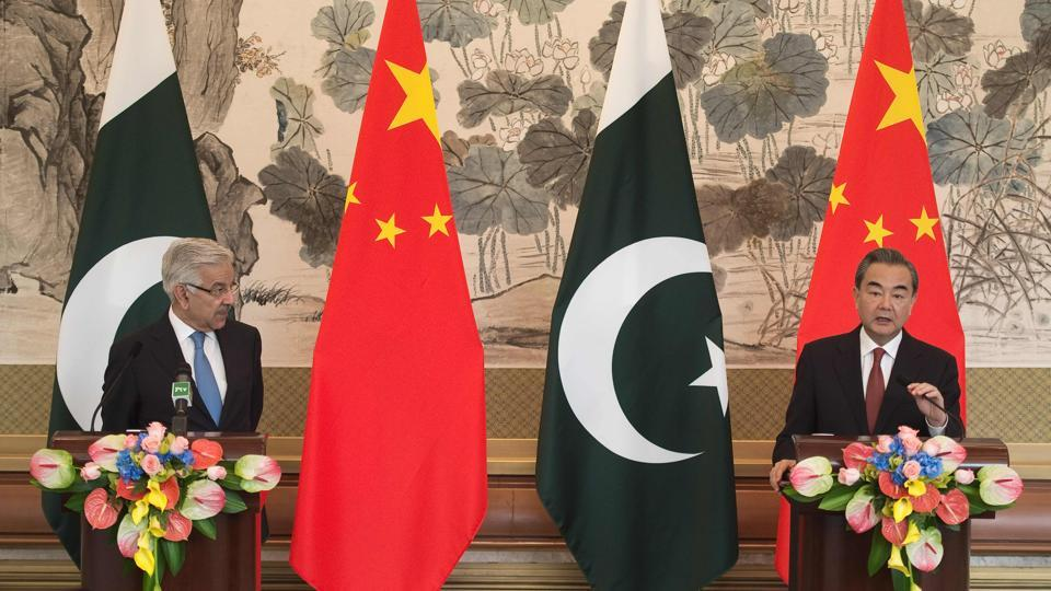 Chinese foreign minister Wang Yi during a joint press conference with his Pakistan counterpart Khawaja Muhammad Asif in Beijing on September 8, 2017.