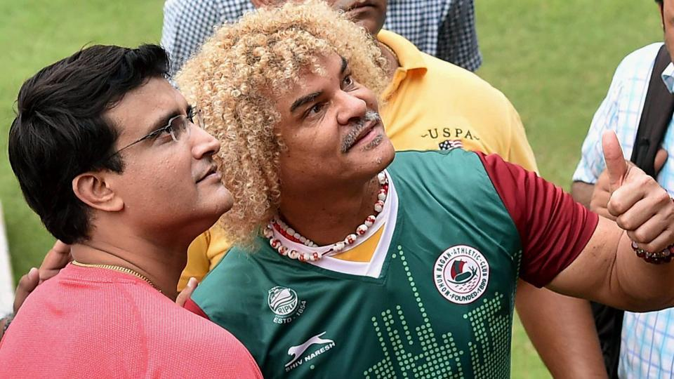 Carlos Valderrama visited the Mohun Bagan ground along with Sourav Ganguly. (PTI)
