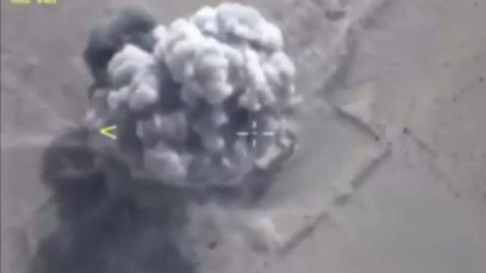 A still image taken from a video footage and released by Russia's defence ministry on September 5 shows airstrikes, carried out by the Russian frigate Admiral Essen hitting an Islamic State target, in Deir al-Zor province, Syria.