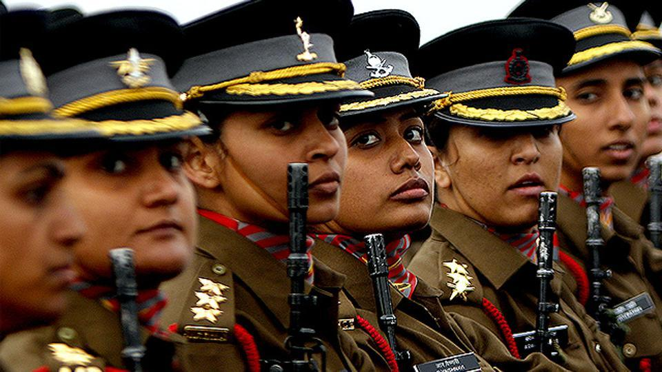 Female Indian Army officers march during  an Army Day parade in New Delhi.