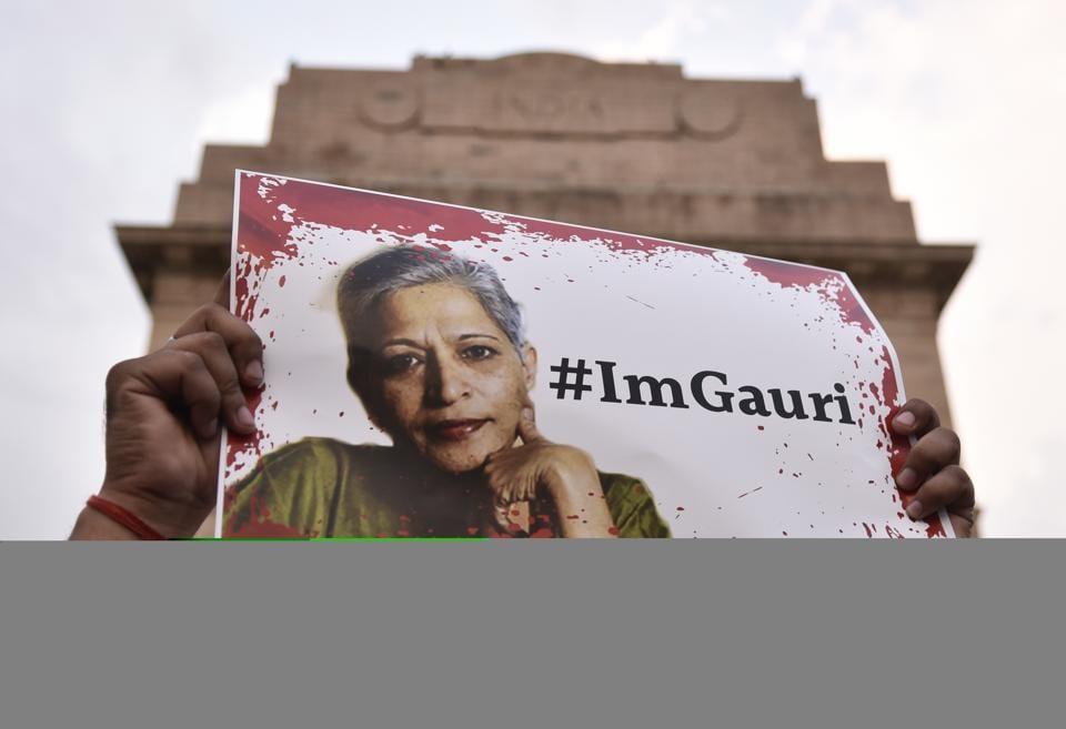 Acandle light vigil was organised for the journalist Gauri Lankesh who was murdered in Bengaluru.