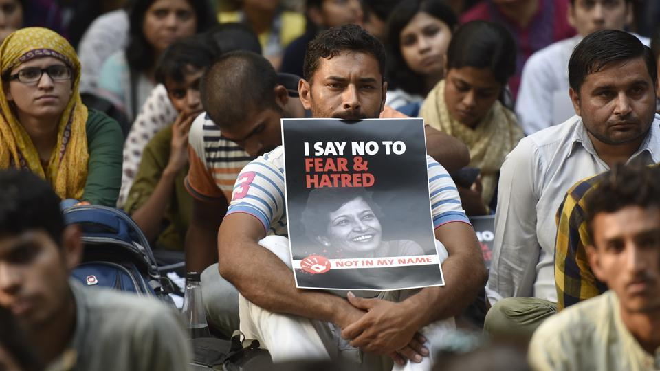 People participate in a protest called Not In My Name against the killing of senior journalist Gauri Lankesh at Jantar Mantar in New Delhi on Thursday.