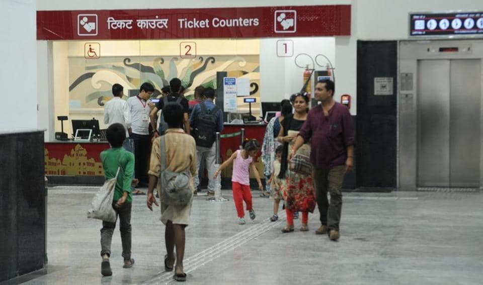 Enthusiastic passengers thronged the ticket counters at Shringar Nagar Metro station since morning.