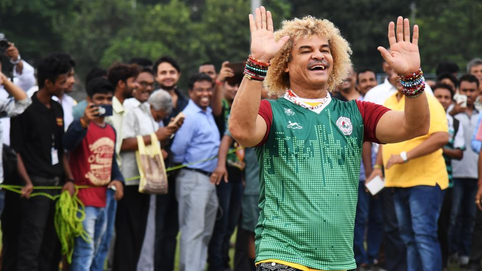 Carlos Valderrama gestures during an event ahead of the FIFA U-17 World Cup tournament. (AFP)
