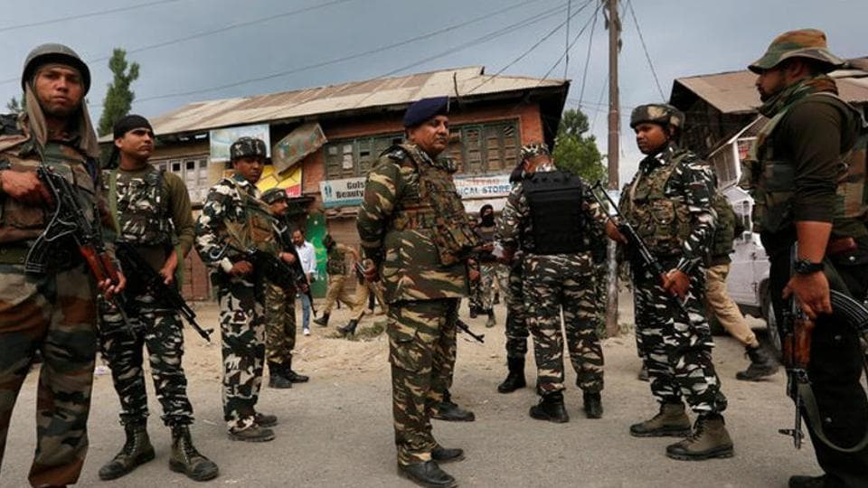 Security force personnel in south Kashmir's Anantnag district.