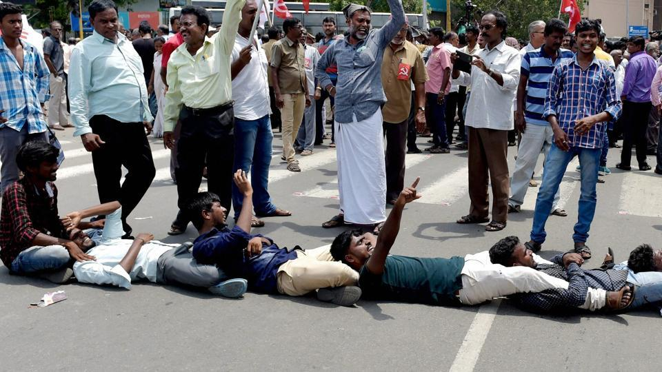 Political parties and pro-Tamil outfits staged statewide protests over the suicide of a 17-year-old girl who had moved the Supreme Court against NEET- based medical examinations, in Chennai last week.