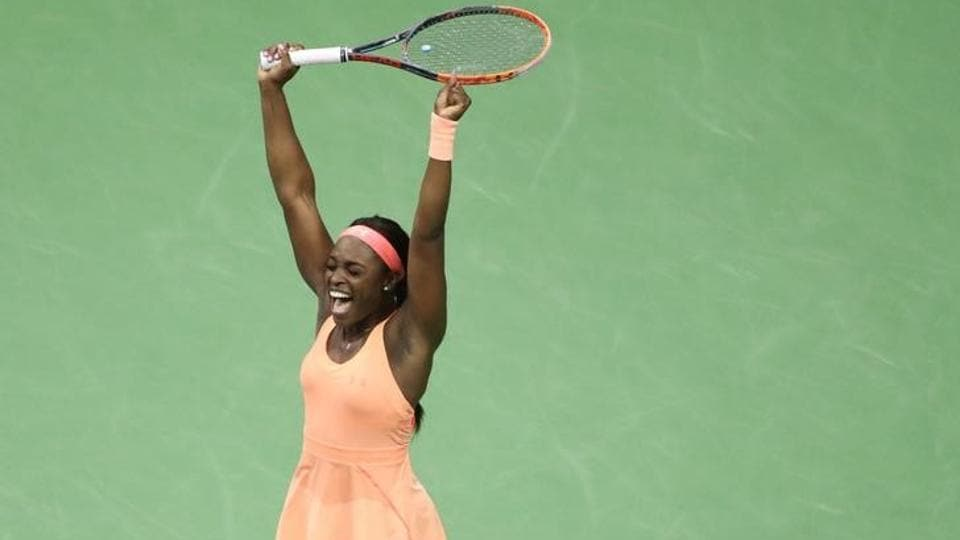 Sloane Stephens celebrates her win against Venus Williams after their U.S. Open semi-final.