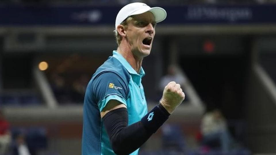 Kevin Anderson of South Africa celebrates after beating Sam Querrey of the United States to reach the semifinals of the USOpen where he will play Pablo Carreno Busta of Spain. In the other men's singles semifinal,Rafael Nadal takes on Juan Martin del Potro.