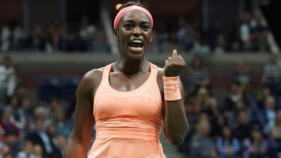 Sloane Stephens celebrates a point against Venus Williams during their 2017 US Open semifinal match.