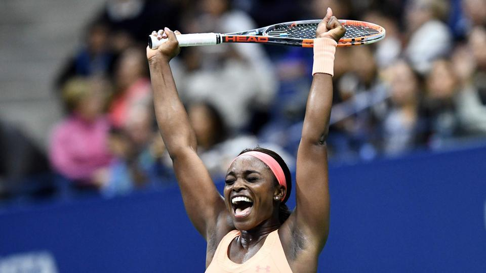 Sloane Stephens of the US celebrates after beating compatriot Venus Williams in their 2017 US Open women's singles semifinals at the USTA Billie Jean King National Tennis Center in New York on Friday. Stephens and Madison Keys will face off in the final to be played on Saturday.  (AFP)