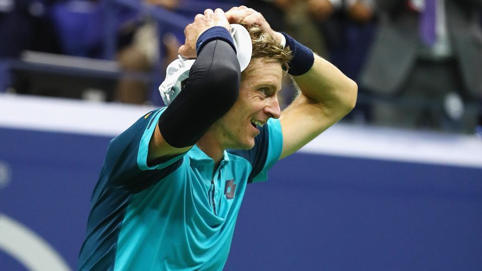 Kevin Anderson celebrates after defeating Pablo Carreno Busta in their men's singles semi-final match in the US Open.