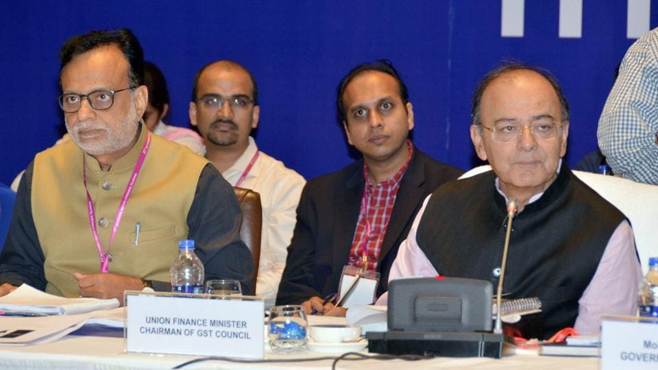 Minister of corporate affairs Arun Jaitley at the 21st GST Council meet in Hyderabad on Saturday.